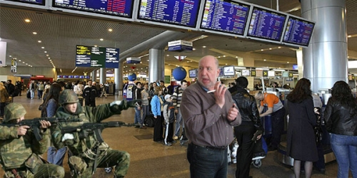 Russian TSA counterparts remind traveler to extinguish all smoking materials for his own safety.