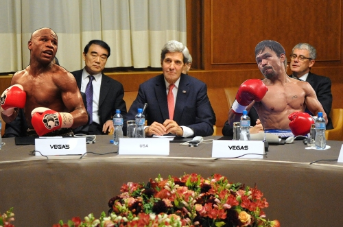 John Kerry negotiates with Pacquiao, Mayweather to avert nuclear proliferation and slightly higher pay-per-view rate.