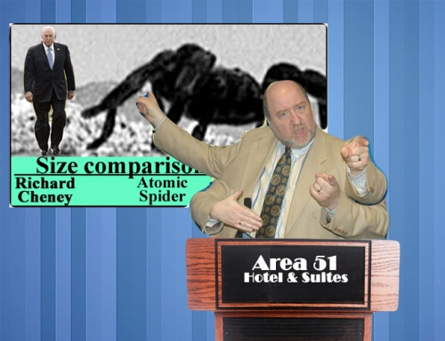 "Claims of Area 51 'secrets' were decried by Clinton supporter and Roswell Project director S'Rin ""Larry"" B'Tll. ""Trump should just shut his big, fat primary reticulated ovipositor!"""